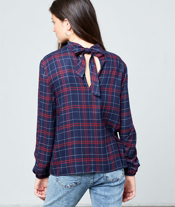 Tie back blouse in check