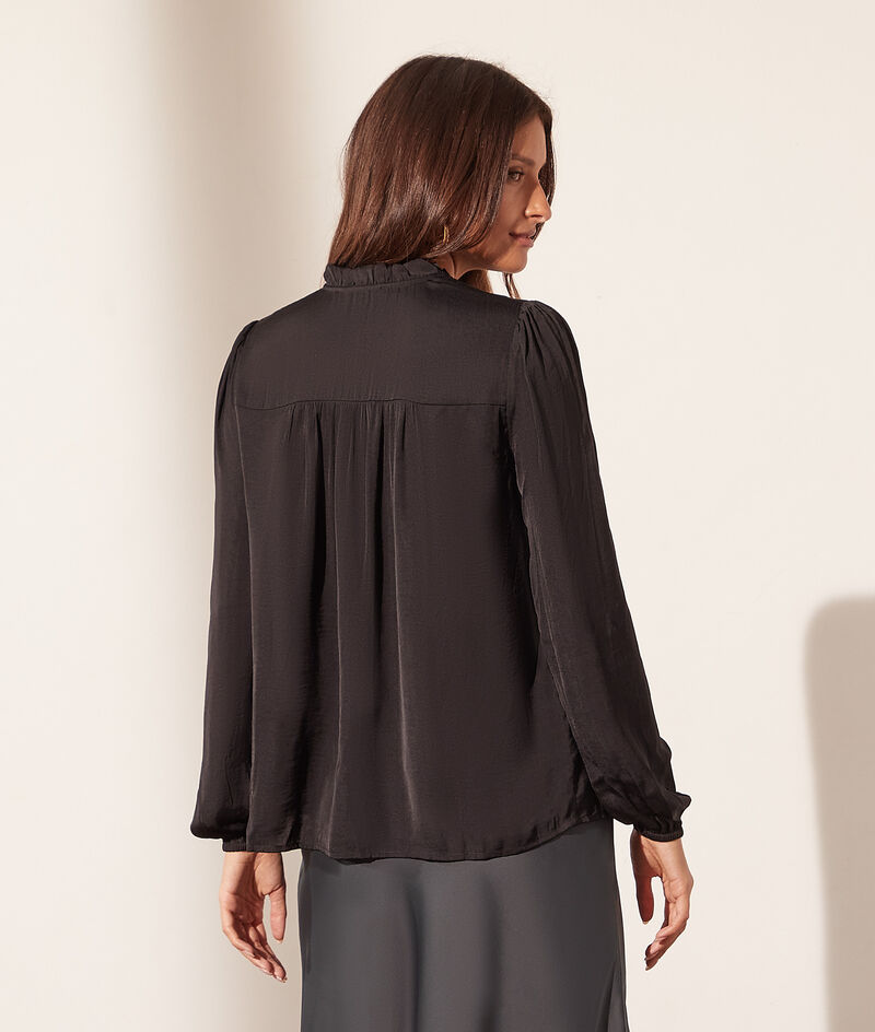 V-neck blouse with tie fastening