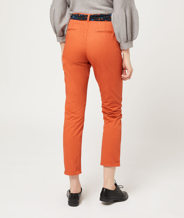 Straight leg trousers with scarf belt