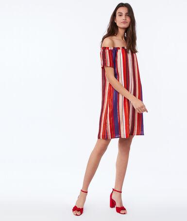 Printed dress with bare shoulders orange.