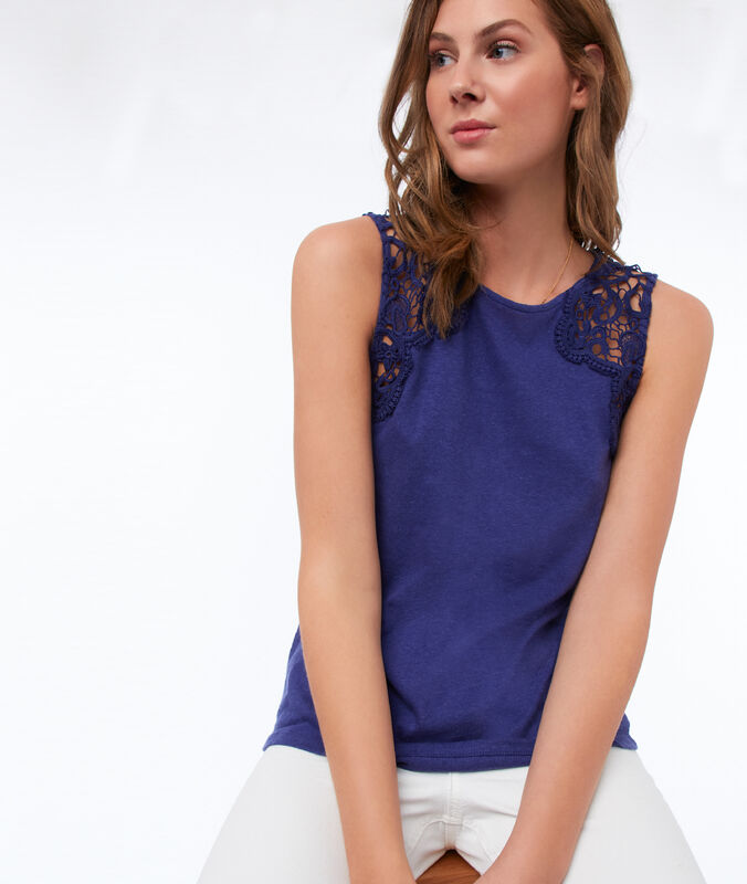 Tank top with cotton lace panel navy blue.