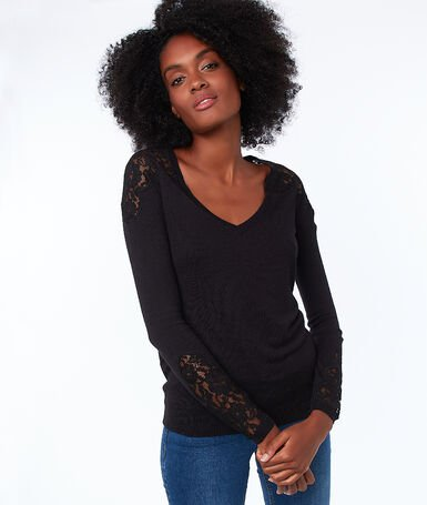 V-neck sweater with guipures black.
