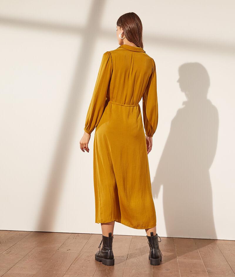 Long satin shirt dress