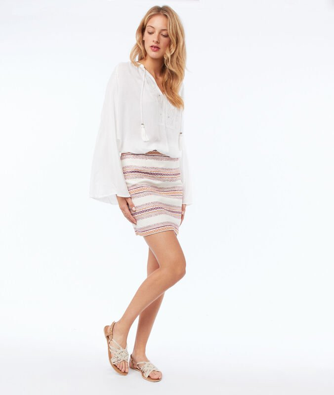 Striped jacquard skirt ecru.