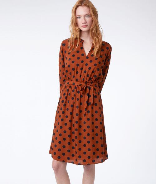 Belted spot dress