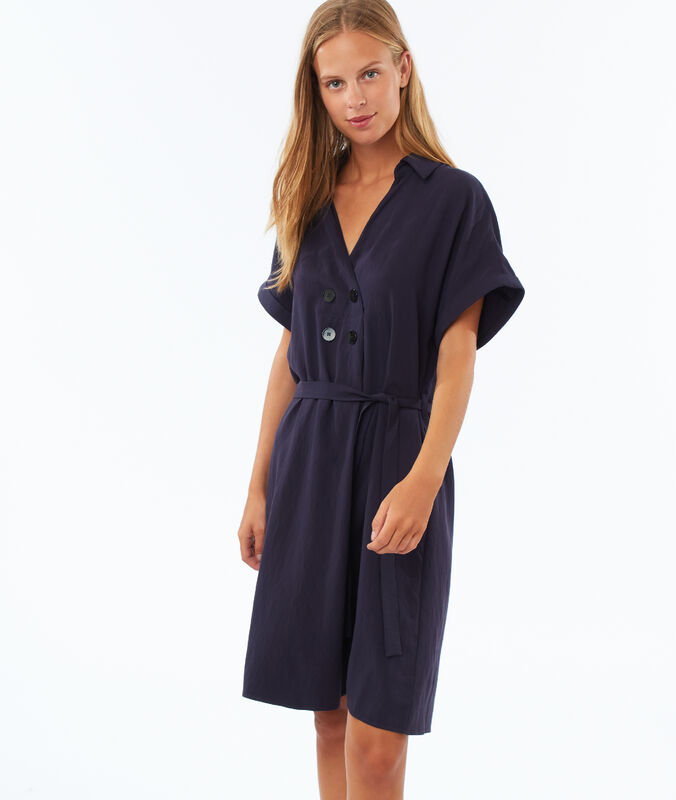 Buttoned tie dress navy blue.