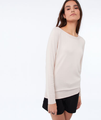 Wide-necked jumper nude.