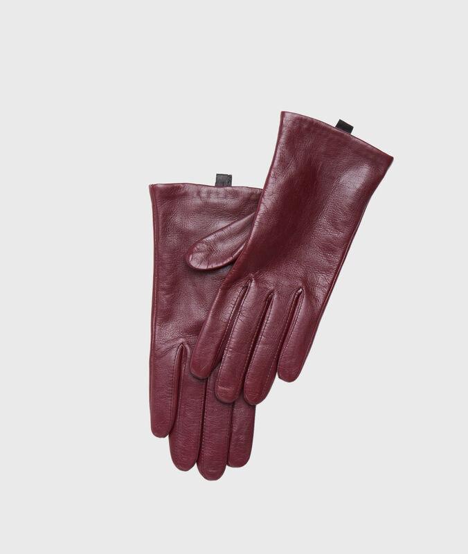 Leather gloves burgundy.