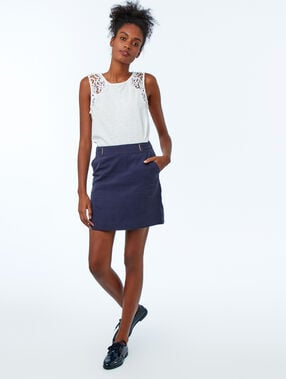 Tank top with cotton lace panel white.