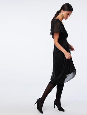 Metallic thread midi dress black.