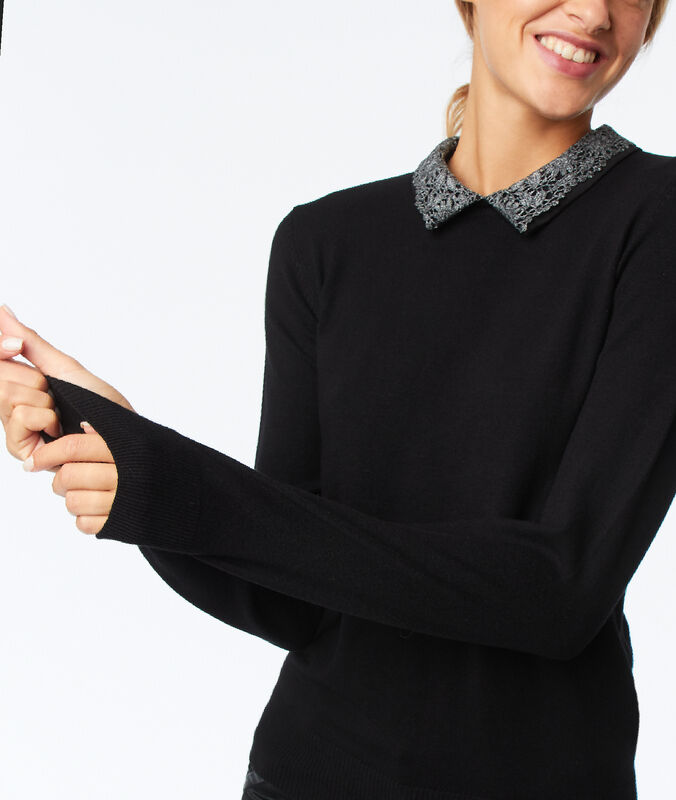 Pull col claudine amovible noir.