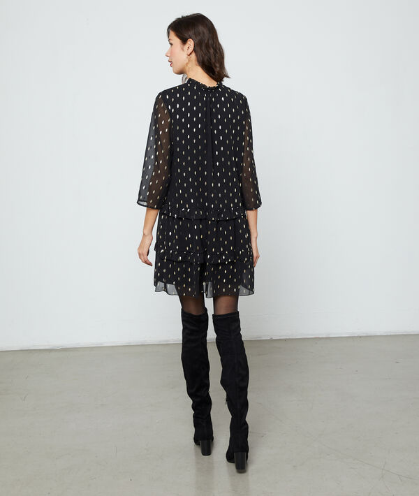 Dress with lining in feathers print