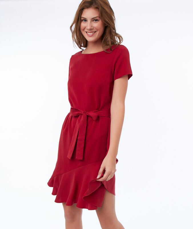 Plain dress with tencel® belt carmine red.