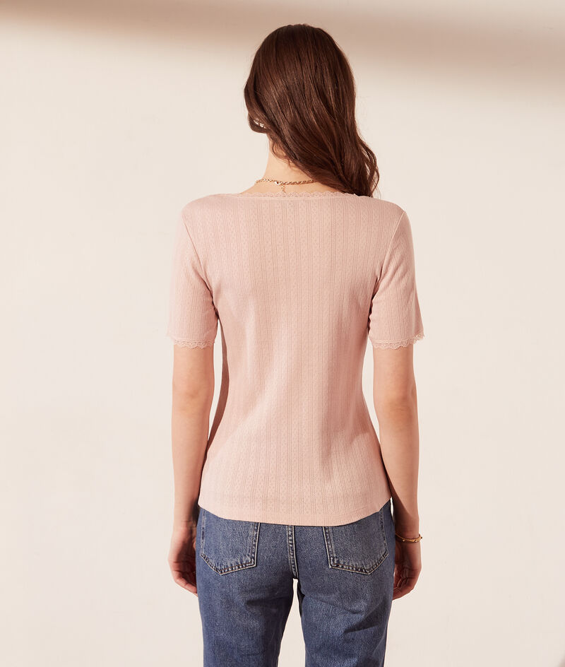 Pointelle T-shirt with lace details