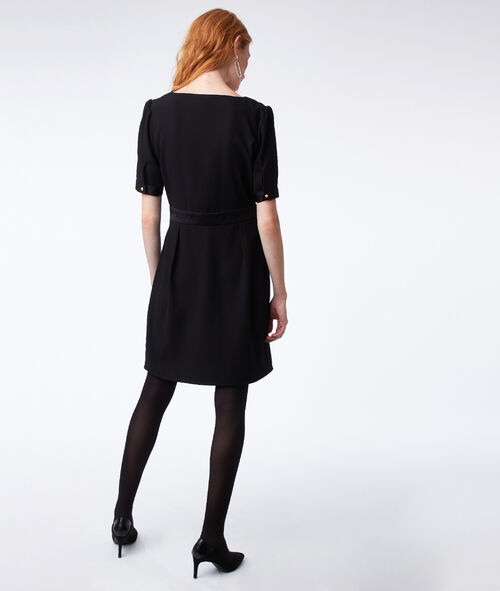 V-neck dress with satin panel