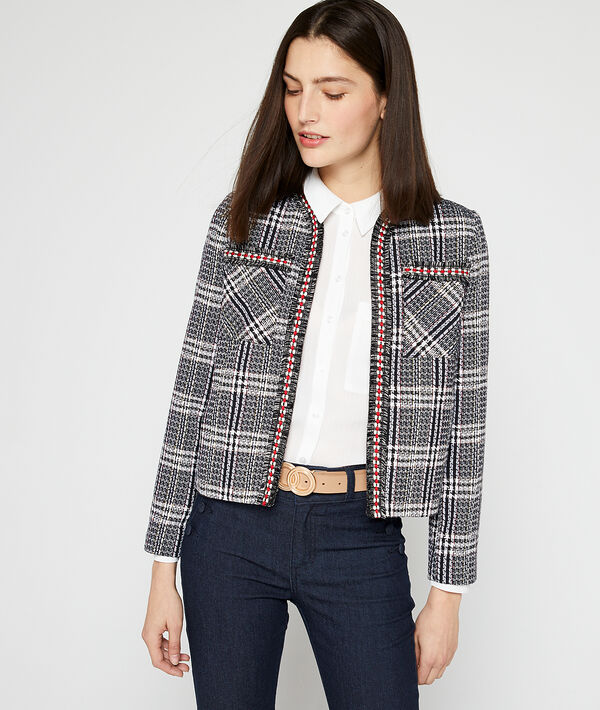 Suit jacket in tweed effect