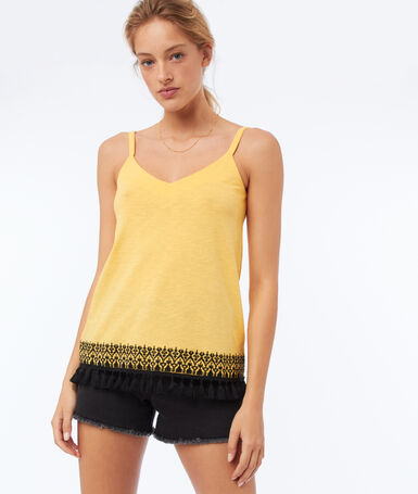 Camisole with embroidered details mimosa yellow.