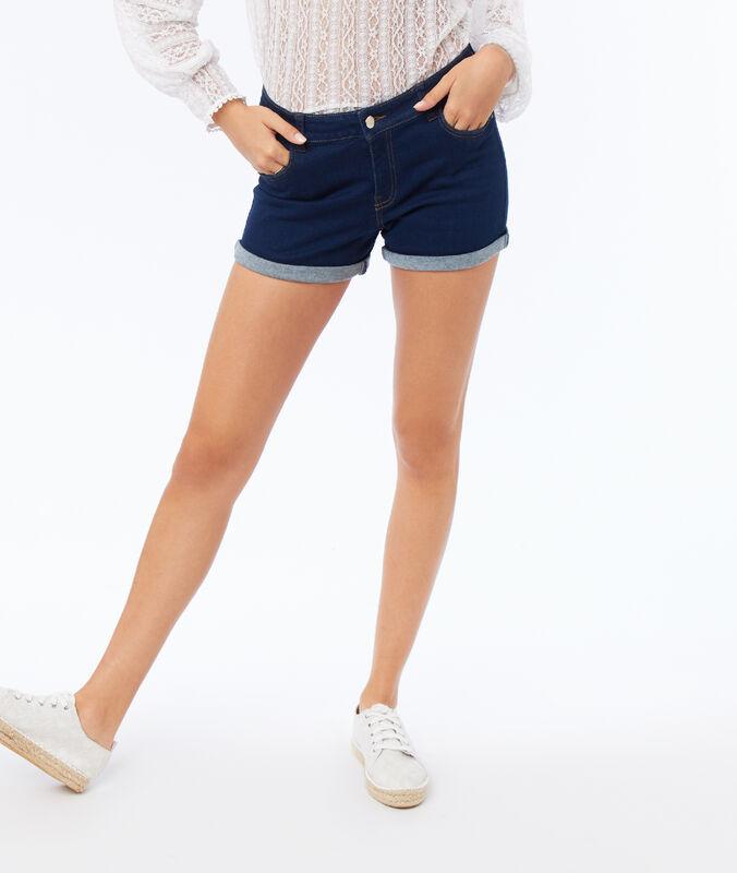 Denim shorts faded dark blue.