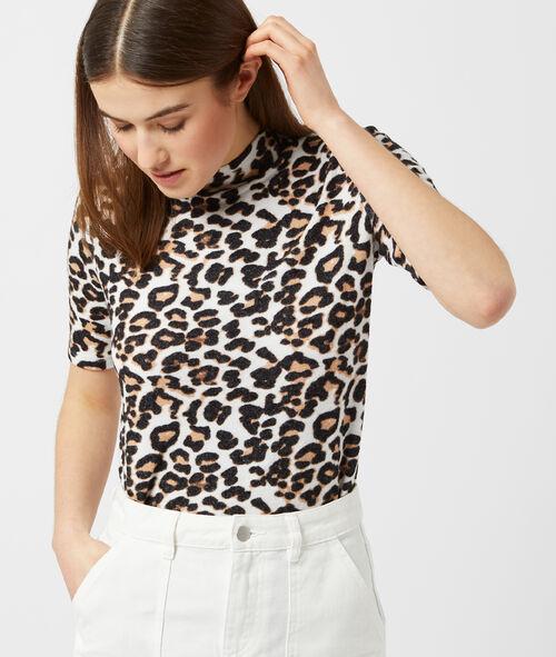 Top maille douce à imprimé léopard