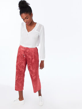 Jacquard pants raspberry.