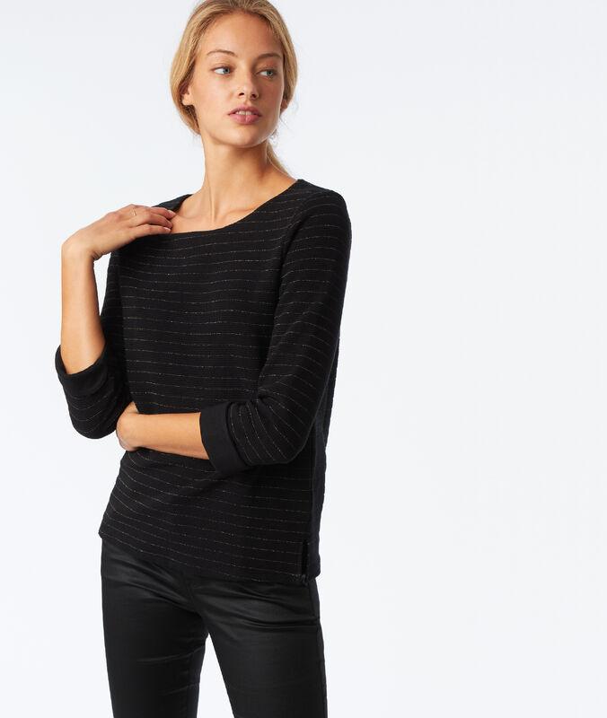 T-shirt manches longues à fils métallisés noir.