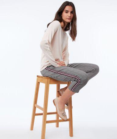 Slimline pants with side band black.