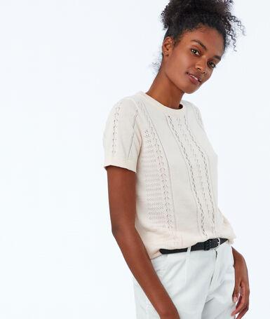Knit short sleeve sweater honey yellow.