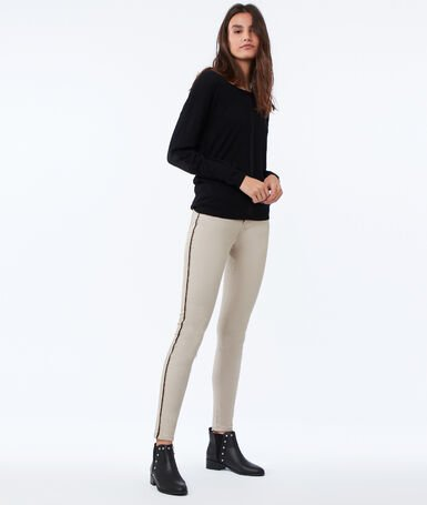 Skinny pants with side band beige.