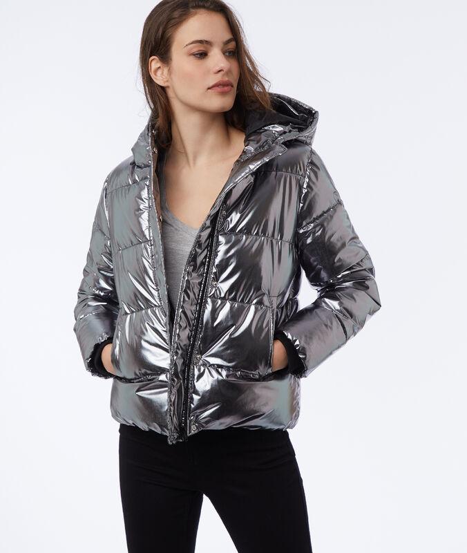 Hooded fleece jacket silver.