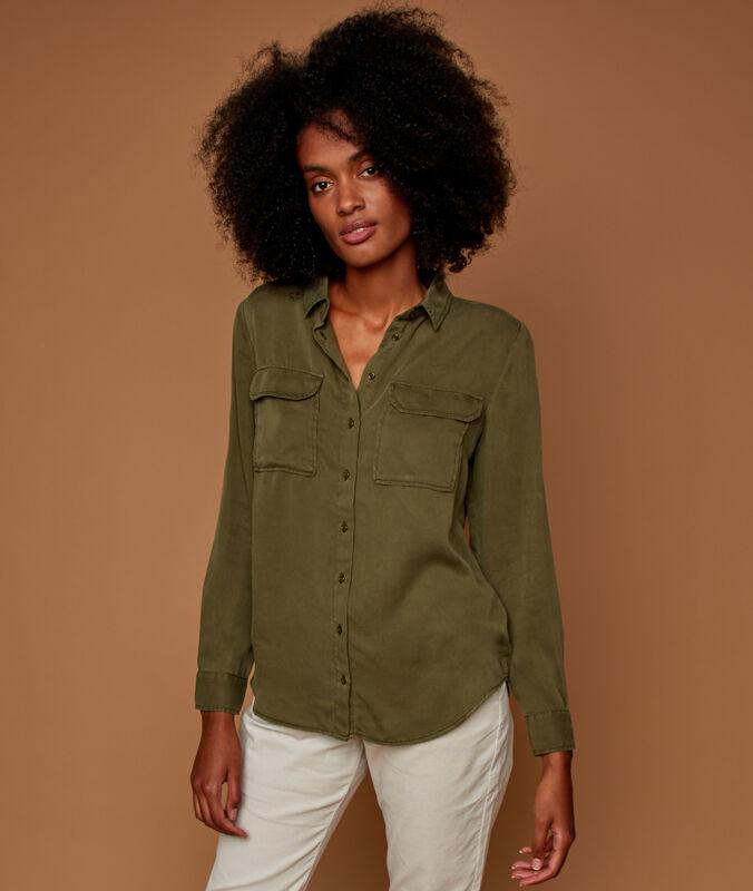 Tencel® shirt with 2 pockets khaki.