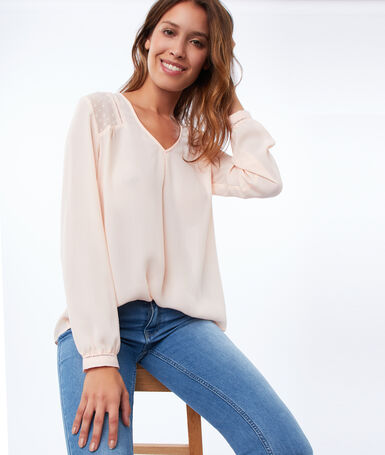 Plumetis back blouse nude.