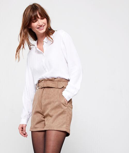 High waist shorts in suede effect