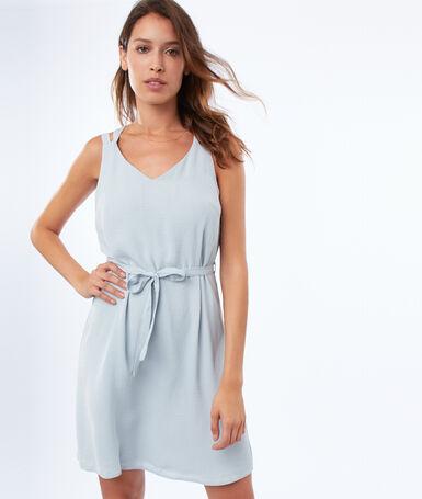 Dress with back neckline sky blue.