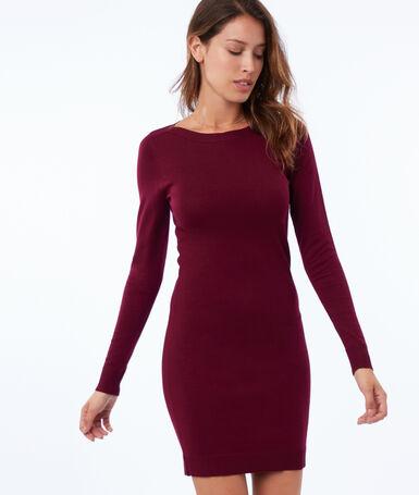 Long sleeve jumper dress garnet.