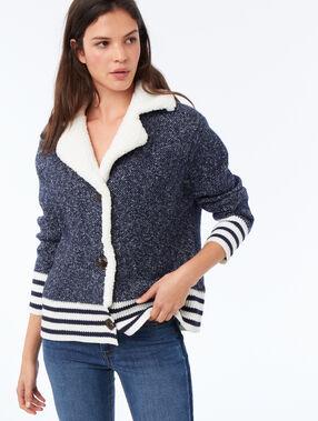 Shearling collar jacket blue.