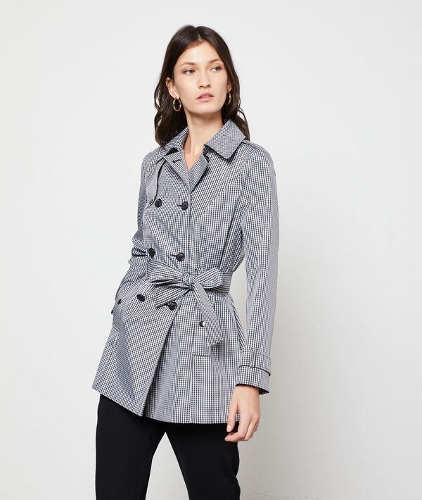 Gingham print trench