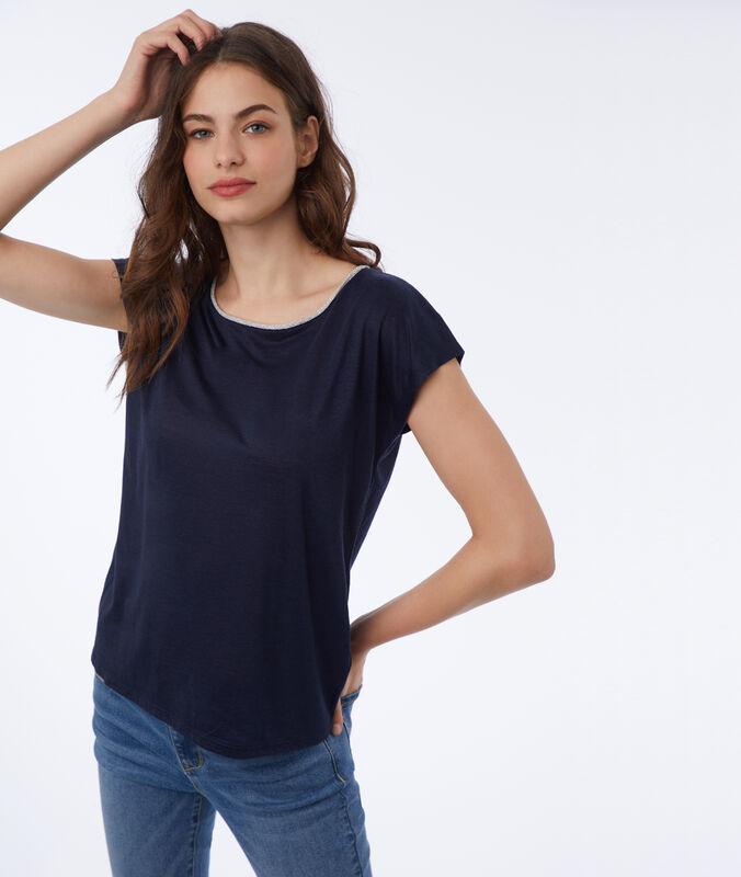 T-shirt with metallic edges navy blue.
