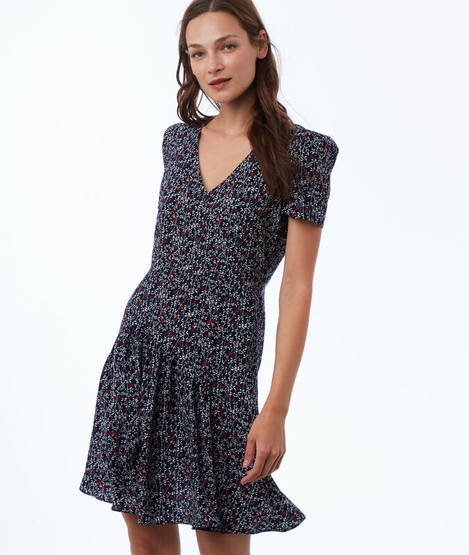 Printed dress navy blue.