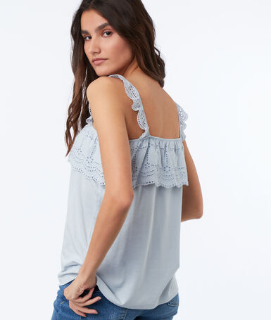 Camisole with embroidered details sky blue.
