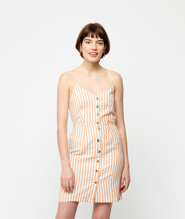 Button through dress in stripe