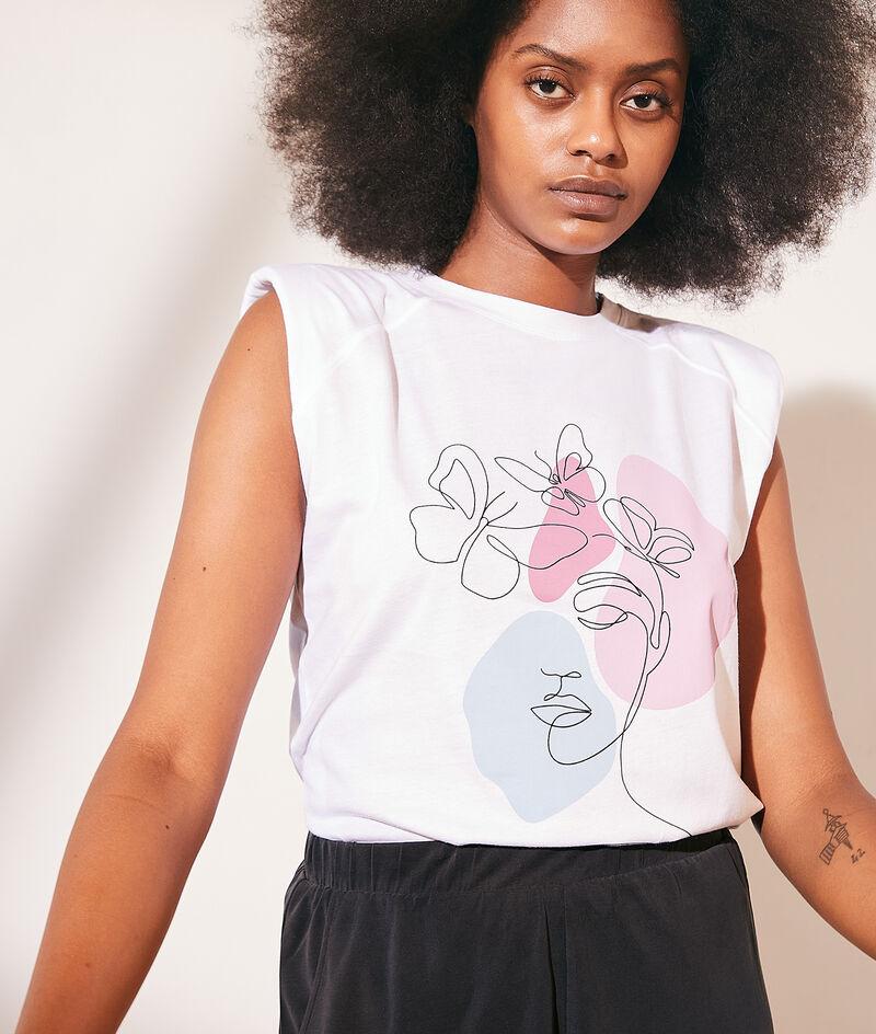 Printed cotton shoulder pad t-shirt
