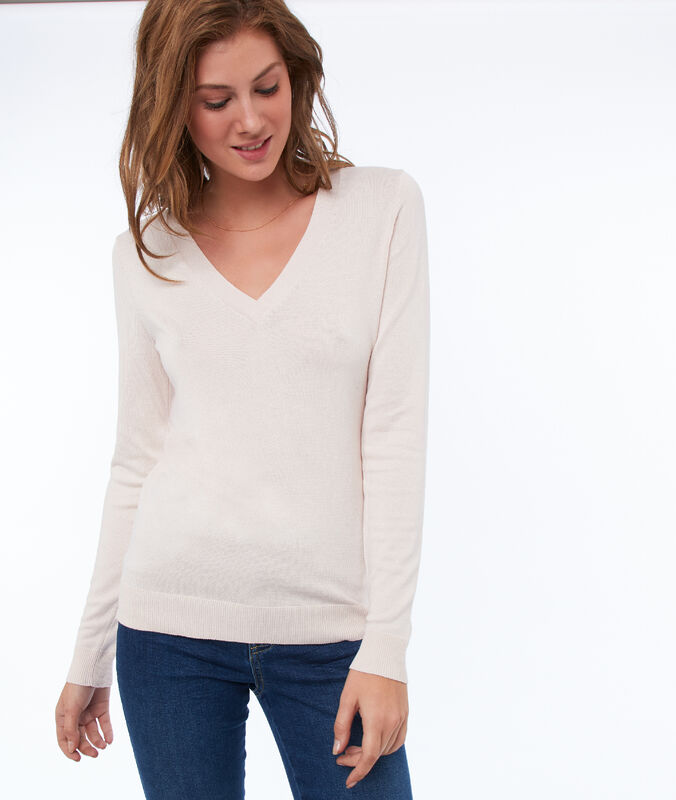 V-neck jumper nude.
