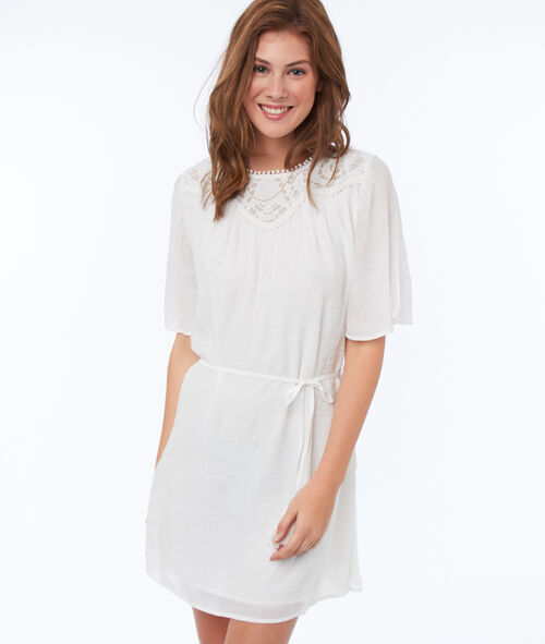 Belted dress with lace panel