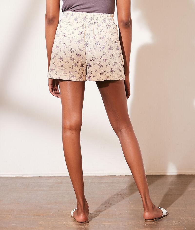 Cotton gauze floral print shorts