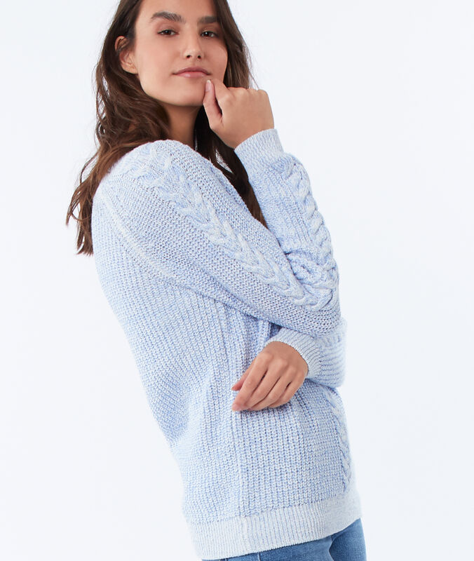 Cable sweater sky blue.