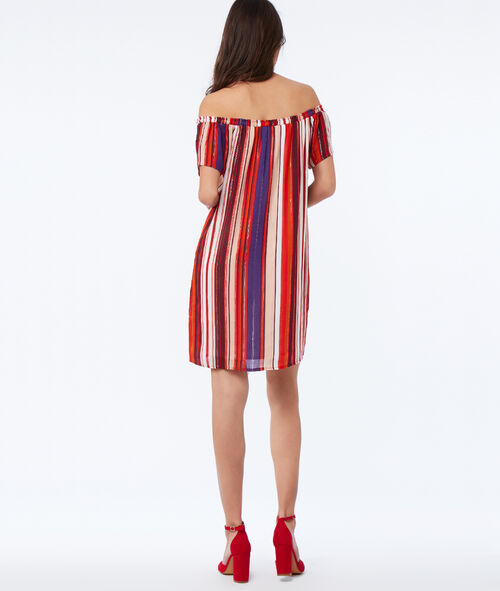 Printed dress with bare shoulders