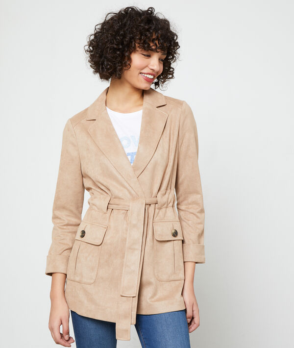 Short length trench in a suede effect