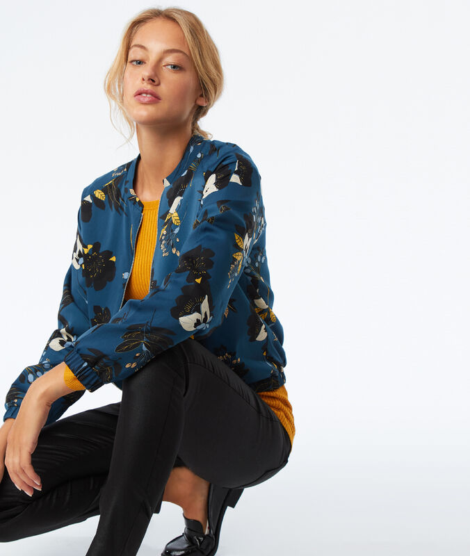 Veste zippée à imprimé floral canard.