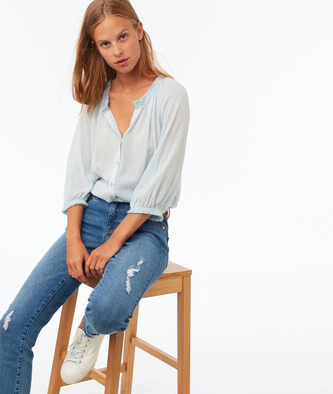 3/4 sleeve blouse sky blue.