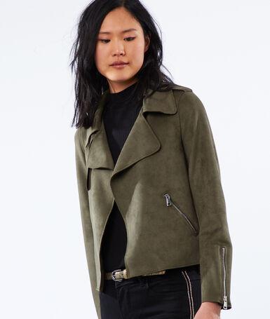 Shawl collar jacket khaki.